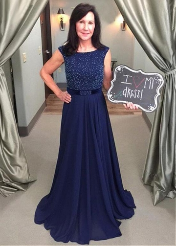 Fabulous Chiffon Jewel Neckline A-line Mother of The Bride Dress With Beadings & Belt