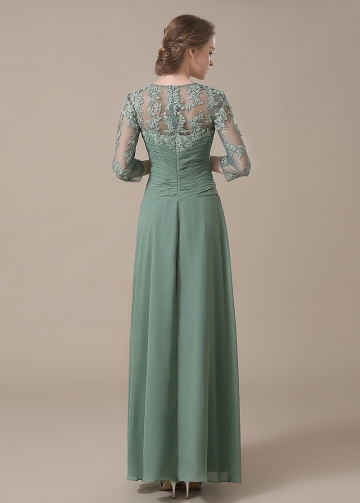 Elegant Chiffon Queen Anne Neckline A-line Mother of The Bride Dresses