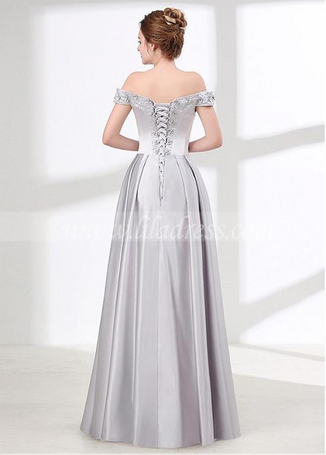 Fashionable Silver Satin Off-the-shoulder Neckline A-line Bridesmaid / Prom Dress