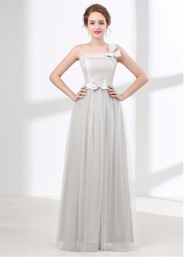 Unique Tulle & Satin One-shoulder Neckline A-line Bridesmaid Dress With Bowknots