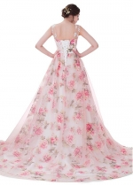 Wonderful Organza Scoop Neckline Print Prom Dresses With Lace Appliques & Beadings