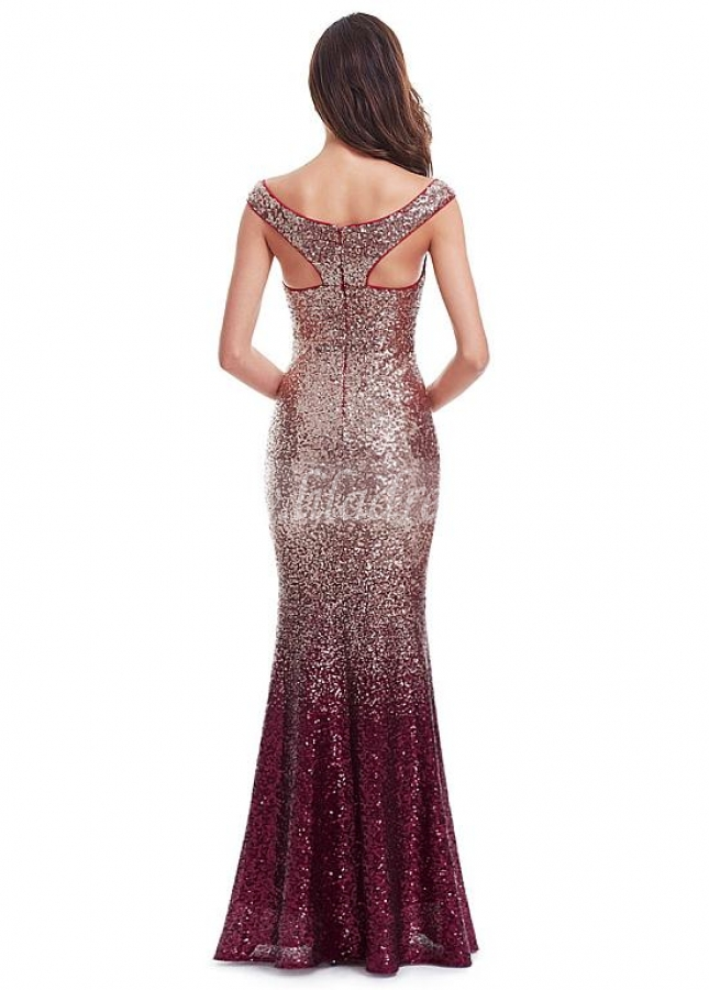 Sparkly Sequin Lace Scoop Neckline Cap Sleeves Full Length Mermaid Prom Dresses