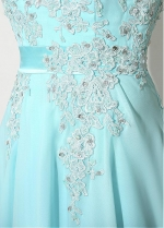Stunning Chiffon Bateau Neckline Full-length A-line Prom Dresses With Beaded Lace Appliques