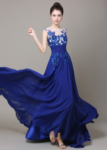 Chic Tulle & Chiffon Illusion Neckline Floor-length A-line Prom Dress