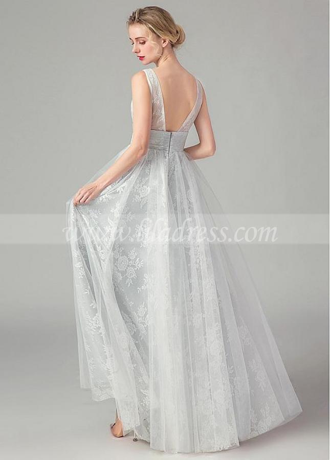 Elegant Satin & Tulle V-neck Neckline A-line Prom Dresses With Lace Appliques