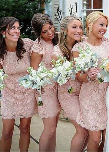 Exquisite Lace Jewel Neckline Cap Sleeves Cut-out Short Length Sheath/Column Bridesmaid Dresses
