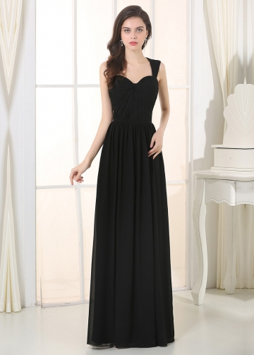 Elegant Chiffon Queen Anne Neckline Sheath Bridesmaid Dress