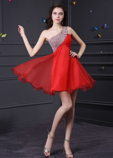Charming Organza & Satin One Shoulder Neckline A-Line Homecoming Dresses