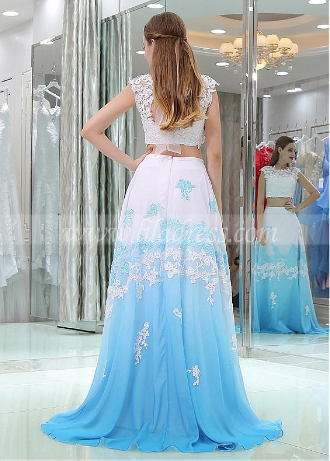 Excellent Tulle & Chiffon Bateau Neckline Cap Sleeves A-line Two-piece Prom Dresses With Beaded Lace Appliques