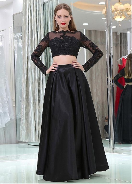Glamorous Tulle & Satin Bateau Neckline Long Length Sleeves A-line Two-piece Prom Dresses With Lace Appliques