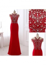 Glamorous Jersey Jewel Neckline Floor-length Sheath Evening Dresses With Beadings