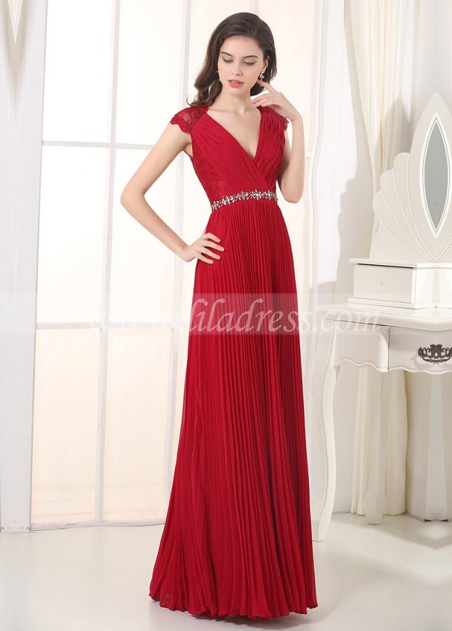 Charming Chiffon V-Neck A-Line Prom / Bridesmaid Dresses