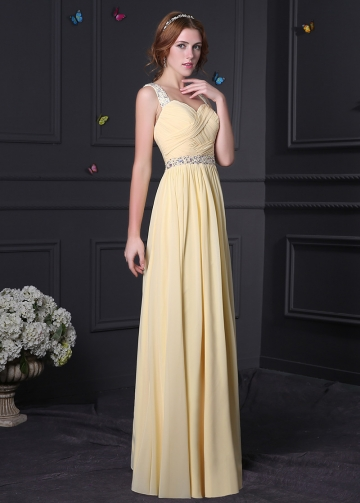 Brilliant Chiffon & Stretch Satin Sweetheart Neckline A-Line Prom Dresses
