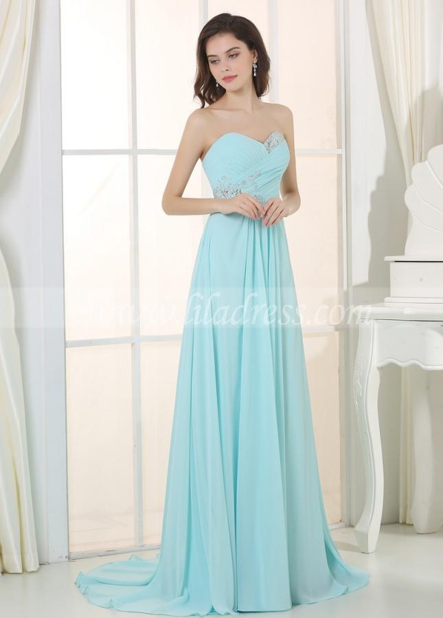 Charming Chiffon & Stretch Satin Sweetheart Neckline A-Line Prom / Bridesmaid Dressses