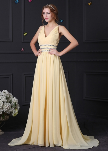 Elegant Chiffon & Stretch Satin V-Neck A-Line Prom Dresses