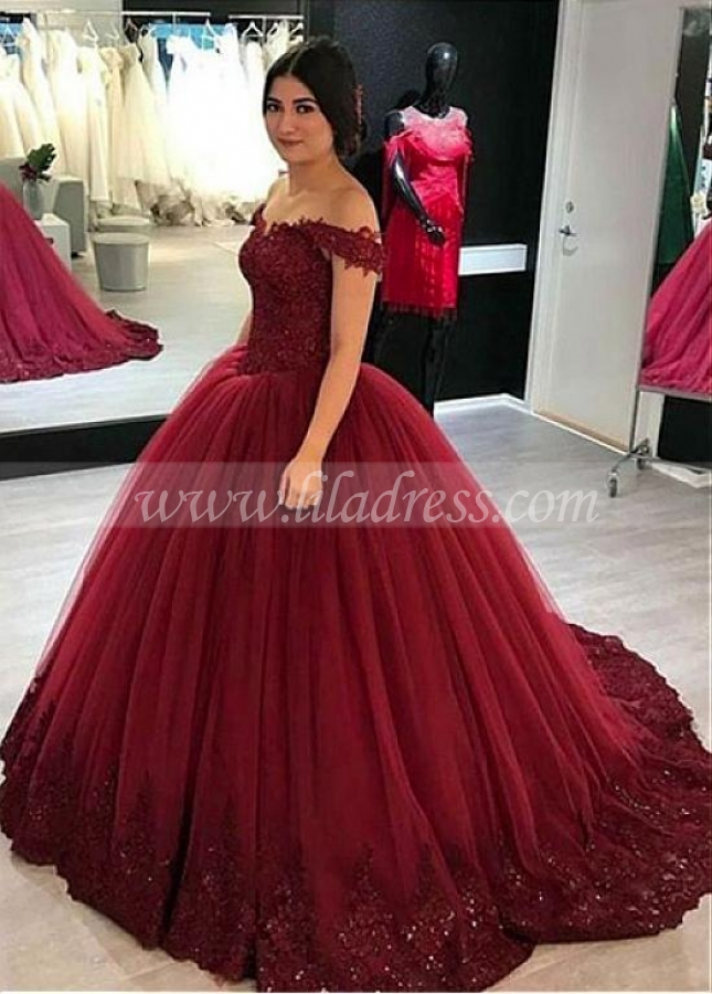 Modern Tulle Off-the-shoulder Neckline Floor-length Ball Gown Quinceanera Dresses With Beaded Lace Appliques