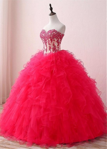 Dazzling Tulle & Satin Sweetheart Neckline Floor-length Ball Gown Quinceanera Dresses With Beaded Lace Appliques & Detachable Jacket