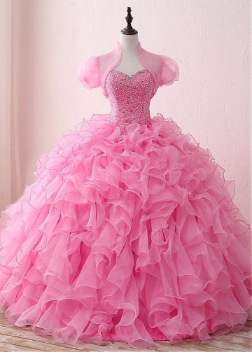 Stunning Organza & Satin Sweetheart Neckline Floor-length Ball Gown Quinceanera Dresses With Beadings & Detachable Jacket