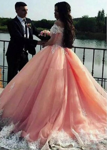 Delicate Tulle Off-the-shoulder Neckline Floor-length Ball Gown Quinceanera Dress With Lace Appliques
