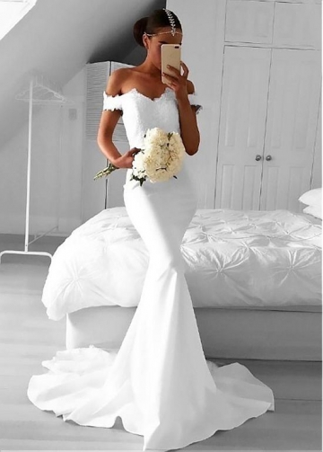 Amazing Satin Off-the-shoulder Neckline Mermaid Wedding Dress With Lace Appliques