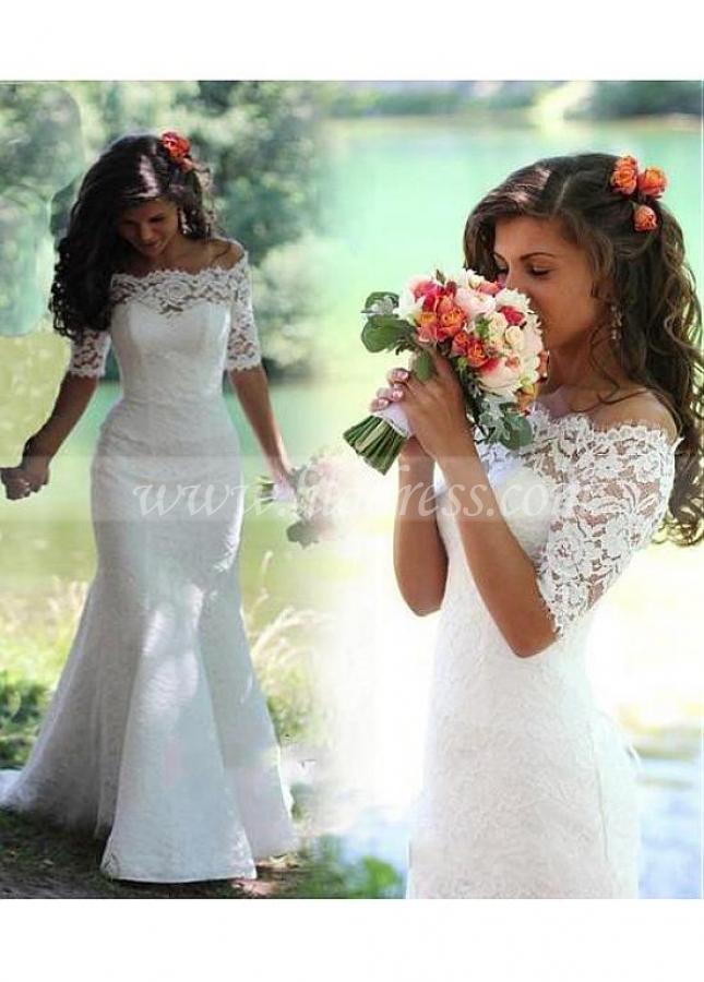 Elegant Lace Off-the-shoulder Neckline Mermaid Wedding Dresses With Detachable Jacket