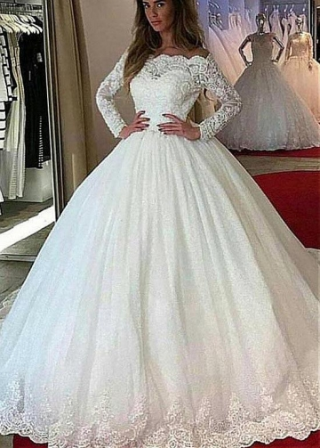 Vintage Tulle Off-the-shoulder Neckline Ball Gown Wedding Dress With Lace Appliques & Beadings