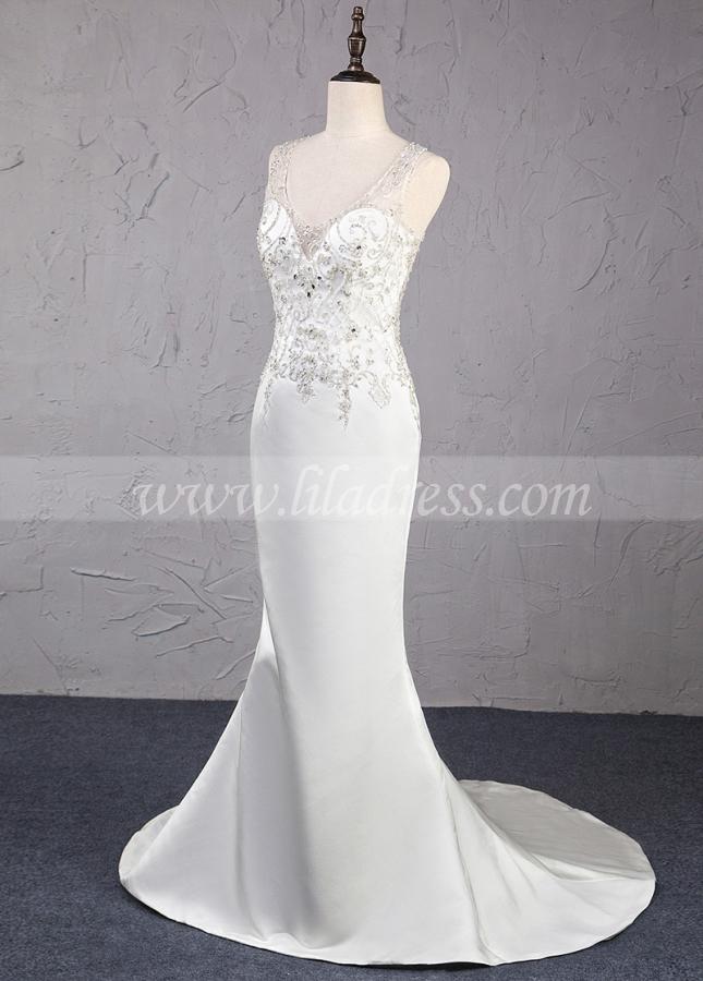 Birlliant Satin V-neck Neckline Mermaid Wedding Dress With Beaded Embroidery