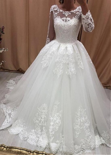 Brilliant Tulle Jewel Neckline Ball Gown Wedding Dresses With Beaded Lace Appliques