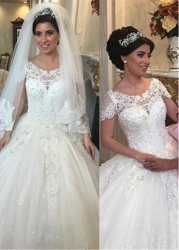 Lavish Tulle Jewel Neckline Ball Gown Wedding Dresses With Beaded Lace Appliques