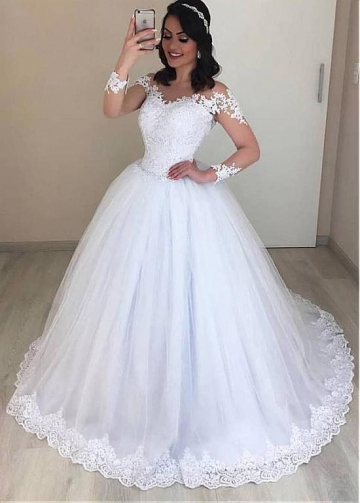 Exquisite Tulle Jewel Neckline Ball Gown Wedding Dress With Beaded Lace Appliques