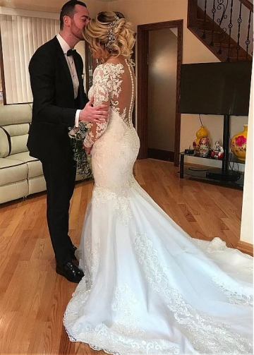 Fabulous Tulle Jewel Neckline Mermaid Wedding Dresses With Beaded Lace Appliques