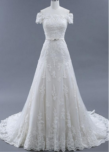 Fabulous Tulle Off-the Shoulder Neckline A-line Wedding Dresses With Beadings & Lace Appliques & Belt