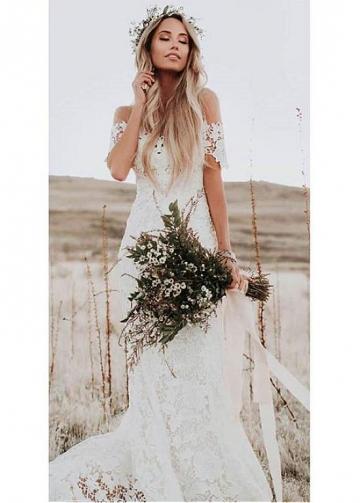 Romantic Lace Sheer Jewel Neckline Full-length Mermaid Wedding Dresses