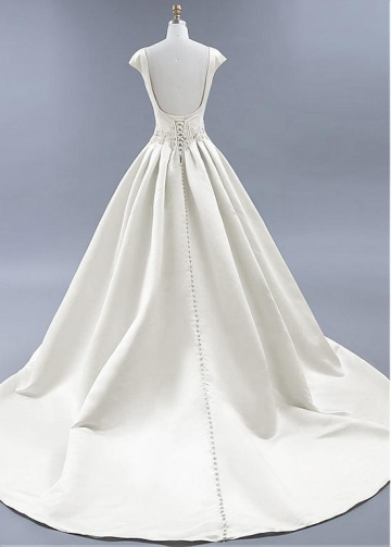 Modest Satin Bateau Neckline Backless A-line Wedding Dresses With Beadings