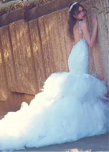 Glamorous Tulle Sweetheart Neckline Mermaid Wedding Dresses With lace Appliques