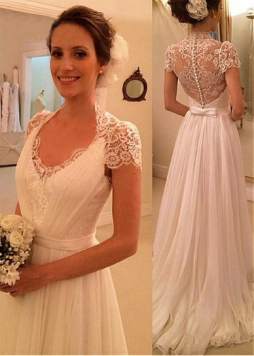 Delicate Lace & Chiffon Scoop Neckline A-line Wedding Dress With Belt