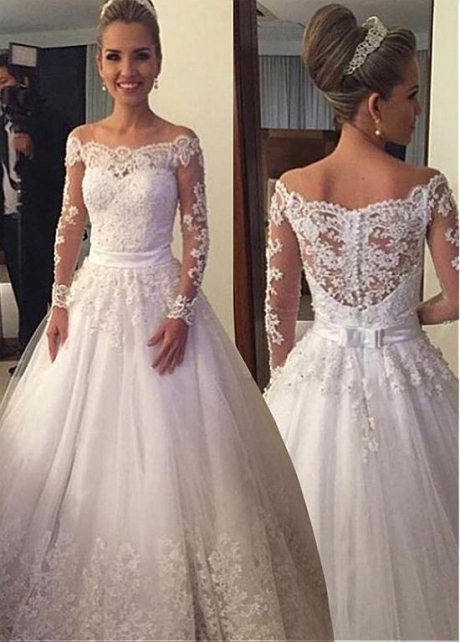 Elegant Tulle Scoop Neckline A-line Wedding Dress With Lace Appliques & Beadings & Belt