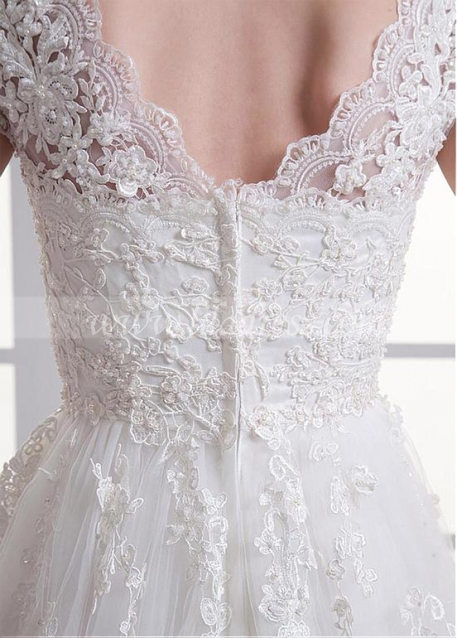 Attractive Tulle Sweetheart Neckline A-line Wedding Dress With Beaded Lace Appliques