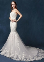 Marvelous Tulle Sweetheart Neckline Natural Waistline Mermaid Wedding Dress With Lace Appliques