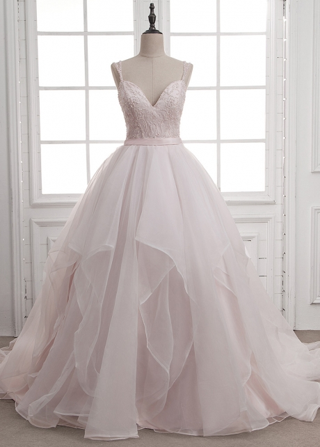 Charming Tulle & Organza Spaghetti Straps Neckline Ball Gown Wedding Dress With Beaded Embroidery & Ruffles