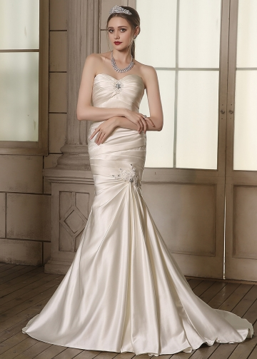 Chic Satin Sweetheart Neckline Ruched Mermaid Wedding Dresses