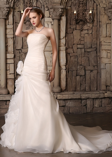 Amazing Organza Satin Strapless Neckline 2 In 1 Wedding Dresses