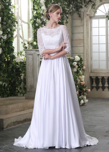Chic Lace & Chiffon Bateau Neckline A-line Wedding Dresses