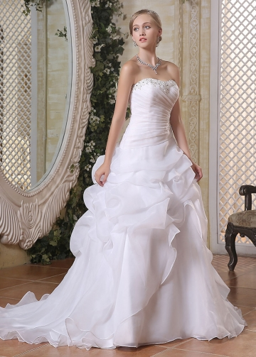 Wonderful Organza Satin Strapless Neckline A-line Wedding Dresses