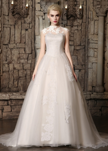 Fabulous Tulle & Lace Illusion High Neckline A-line Wedding Dresses with Lace Appliques