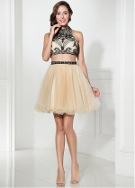 Fabulous Tulle Halter Neckline A-Line Two-piece Short Homecoming Dresses With Beadings