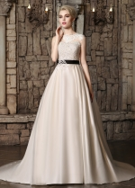 Gorgeous Tulle & Satin Jewel Neckline A-line Wedding Dresses with Beaded Lace Appliques