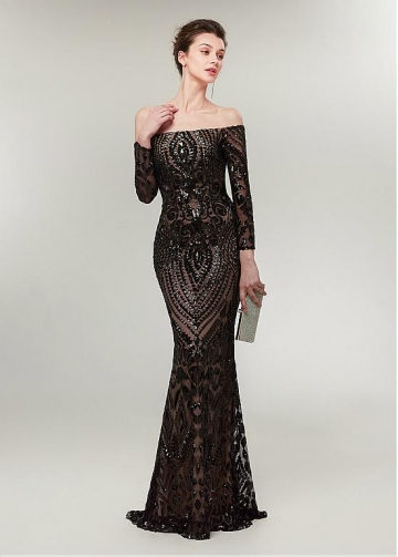 Newest Sequin Lace Off-the-shoulder Neckline Long Sleeves Sheath/Column Evening Dress