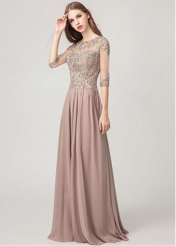 Chiffon Jewel Neckline A-line Evening Dresses