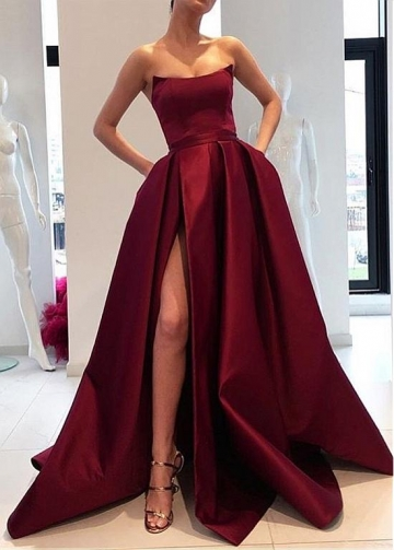 Simple Satin Strapless Neckline Floor-length A-line Evening Dresses With Pockets & Belt